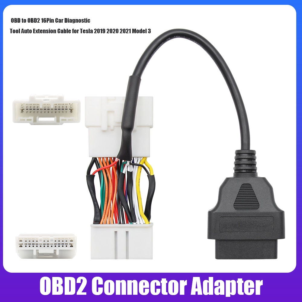 For Tesla OBD2 Connector Adapter OBD To OBD2 16Pin Car Diagnostic Tool Car Extension Cable For Tesla Model 3 Y 2019 2020 2021 finetrip wholesale price flat car diagnostic connector elm327 l type adapter 16pin obd obd ii obd2 extension cable with switch