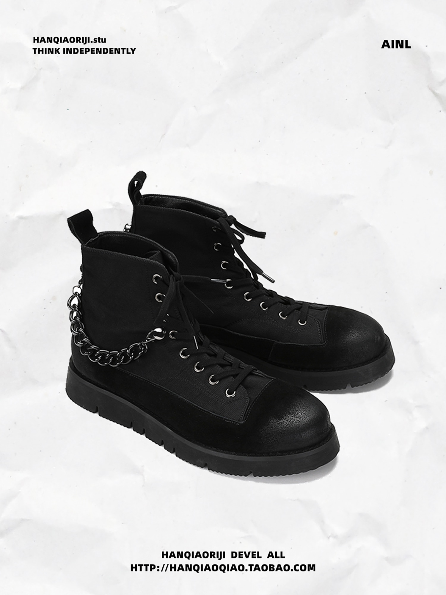 Niche Personality Detachable Chain Personality Martin Boots Men's Fashion Thick-soled Short Boots High-top Shoes Men
