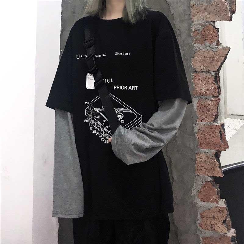 NiceMix Harajuku Gefälschte Zwei Stück T-Shirt frauen Hip Hop Streetwear Langarm Gedruckt Übergroßen Mens Tees Casual Lose Oansatz