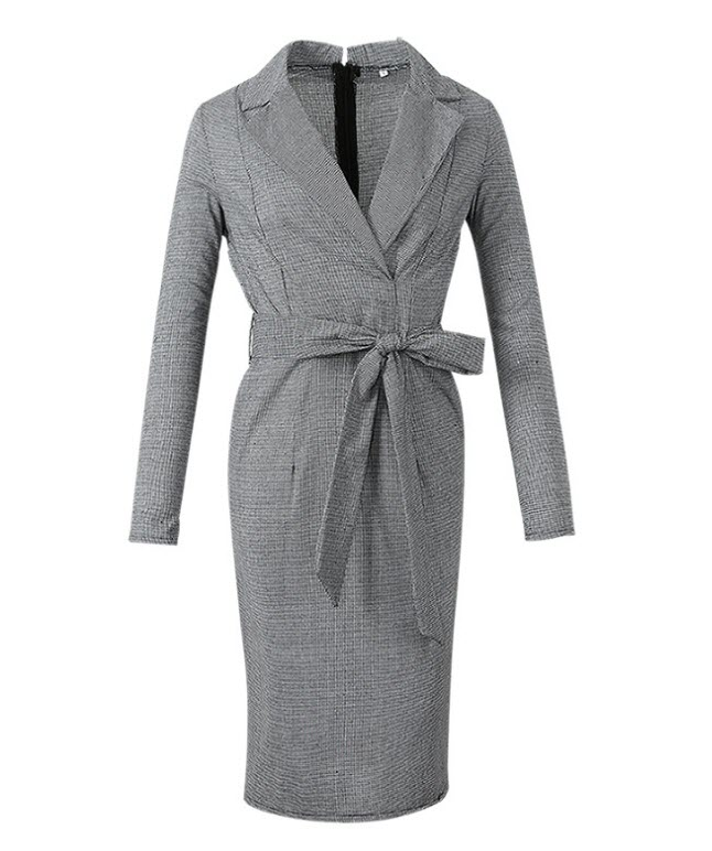 Charming Office Ladies tight dress Gray check women dress Elastic fabric Formal women dress High fashion Big size women skirt enlarge