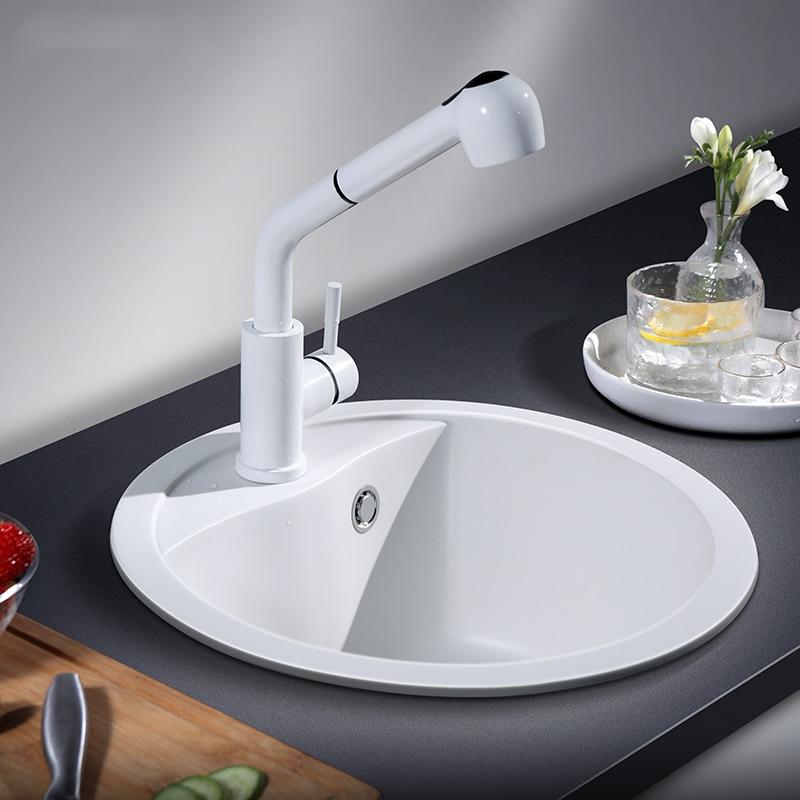 حوض مطبخ من حجر الكوارتز ، وعاء واحد ، حمام سباحة دائري أبيض سفلي ، حزمة غسيل من الجرانيت