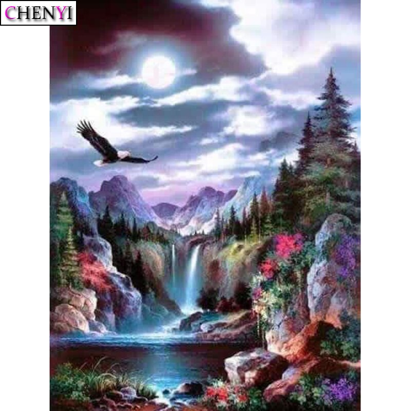 Chenyi 5d diy diamante pintura cachoeiras e águias diamante bordado ponto cruz mosaico venda handwork strass decoração casa