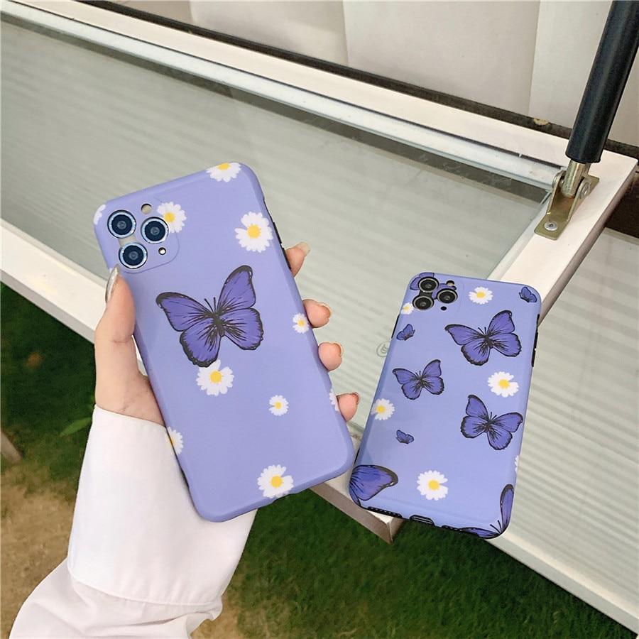 Para iphone 11 Pro Max precisión agujero púrpura mariposa Margarita moda suave teléfono caso para iPhone 7 7plus 8 8plus X XR XS MAX cubierta