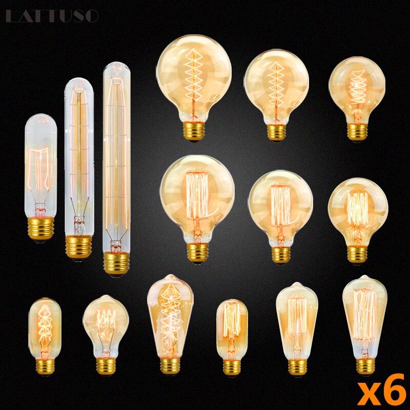 Винтажная лампа Эдисона E27 220 В 40 Вт ST64 G80 G95, 6 шт.