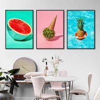 modern colorful watermelon cactus pineapple hanging wall art canvas painting home decor poster for living room