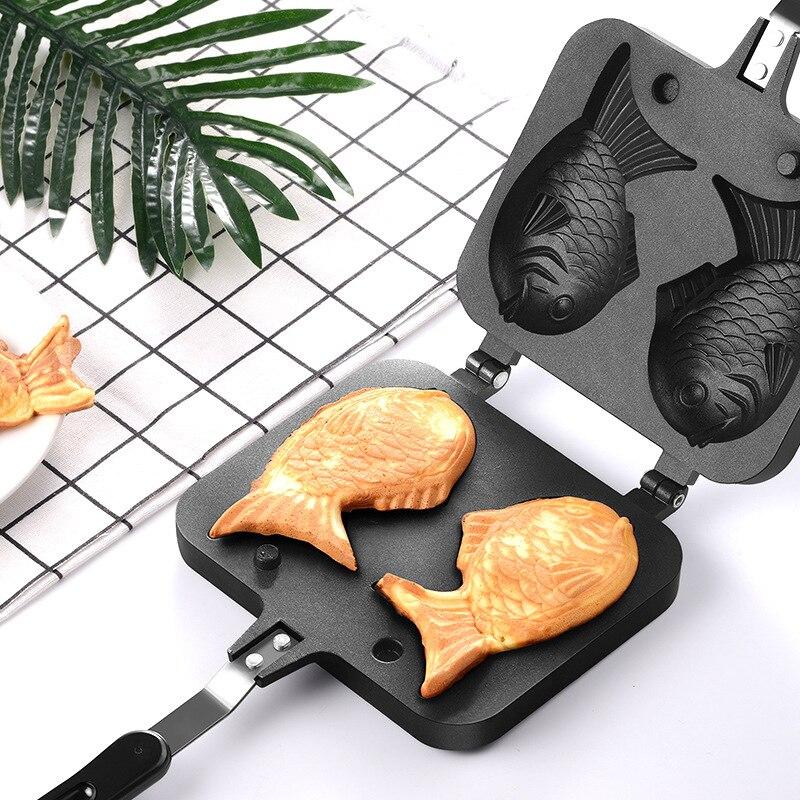 Besugo molde japonés en forma de pescado para hornear Waffle Pan Maker 2 molde de tarta casera herramientas antiadherente besugo hornear molde