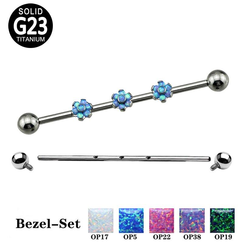 G23, pendiente de barra Industrial de piedra de ópalo Triple de titanio con diseño de flor, pendiente de trago helicoidal, pendiente de oreja de cartílago, Piercing para el cuerpo, joyería
