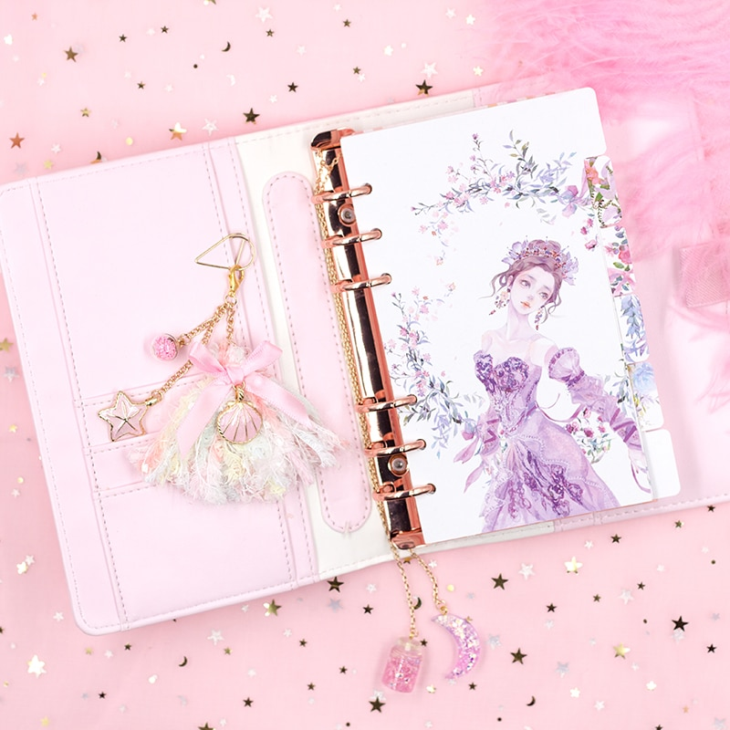 Cherry Pink Loose-leaf Notebook PU Kawaii Book Journal Cute Girl Notepad Portable Travel Diary Planner Office Stationary Gift