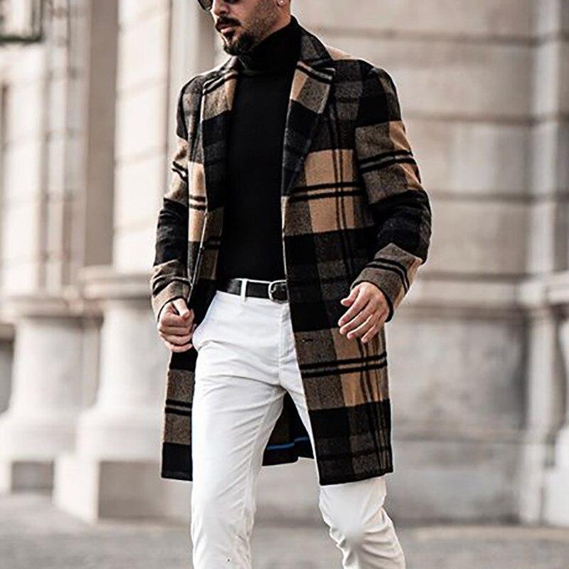 الرجال معطف منتصف طول طباعة طوق معاطف الخريف الشتاء جديد جودة عالية الرجال الصوف سترة ماركة فاخرة الملابس