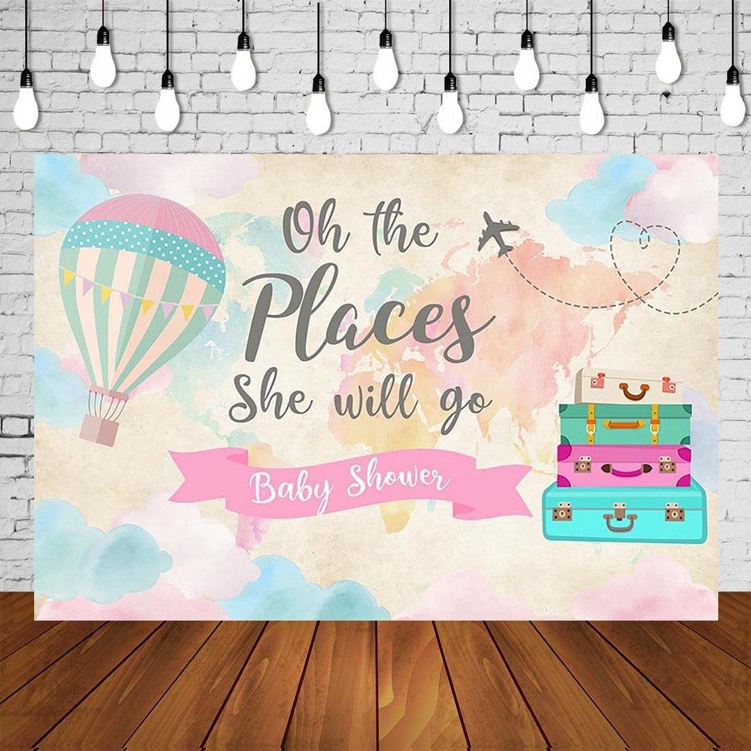 Mundo aventura espera balão de ar quente crianças 1st aniversário festa pano de fundo do bebê menina chuveiro foto fundo da parede decoração SM-700