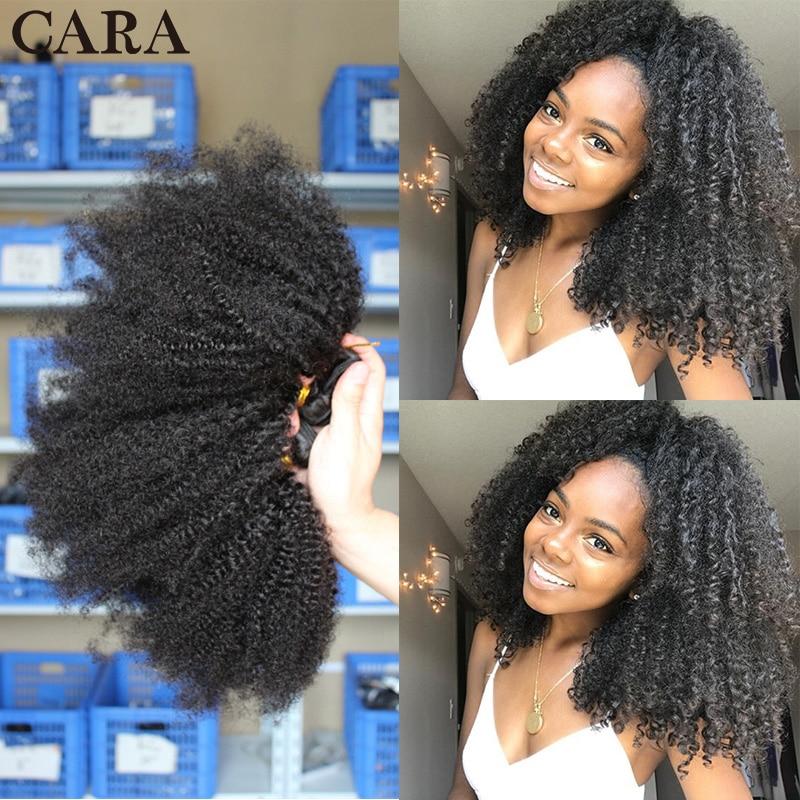 Mongolian Afro Kinky Curly Human Hair 3 Bundles With Closure 4B 4C Natural Virgin Curly Hair Weave Bundles Hair Extensions Cara
