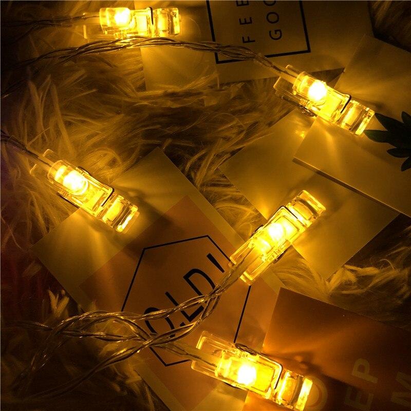 1/3/6m led luz string 3.5cm clipe de foto decoração de fadas luz guirlanda casamento decoração de festa de natal decoração de casa alimentado por bateria