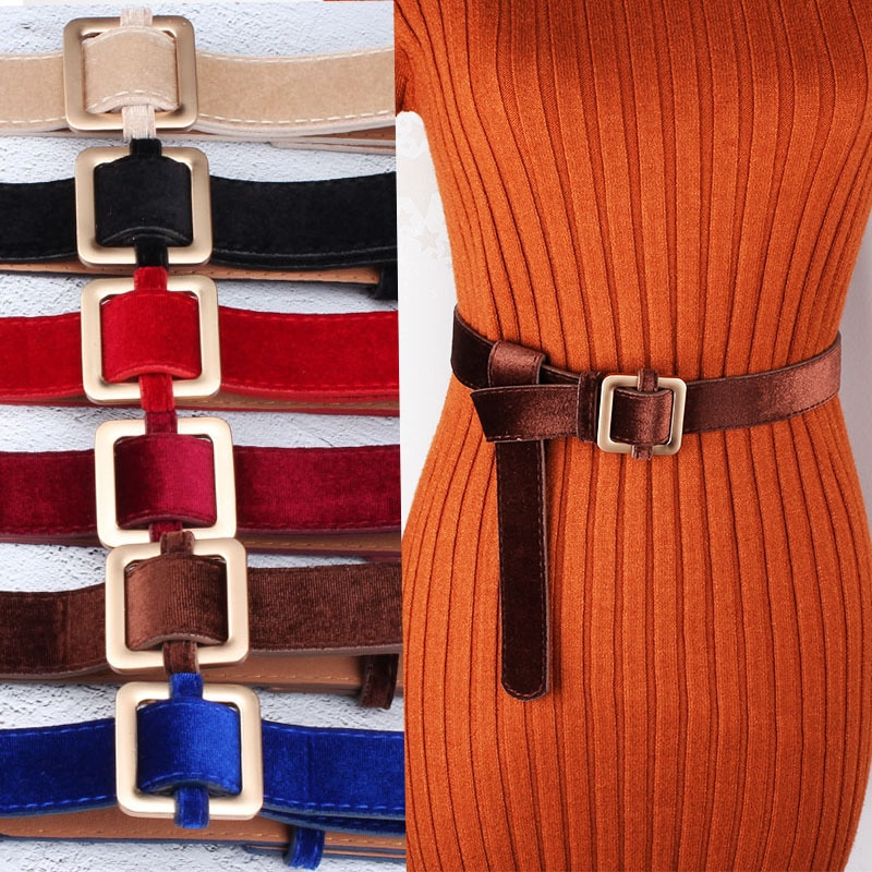 Velvet Sweater Accessories for Women's Dresses with Square Buttons and Waistbands Women Can Wear Bel