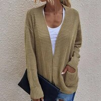 mid length autumn winter long sleeves women knitted cardigan for daily wear