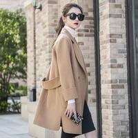 2021 100 wool coat women streetwear side cut turn down collar outwear long black camel korean fashion ladies jacket clothing