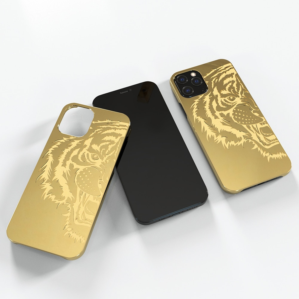 Review Luxury Carved Gold Plated Metal Phone Bumper for iPhone 12 Aluminum Cool Case for iPhone 12 Pro MAX Case Luxury Bumper Protector