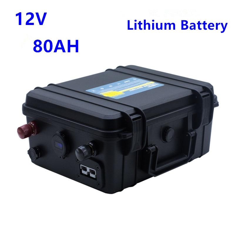 بطارية ليثيوم 12 فولت ، 80 أمبير ، مقاومة للماء ، مع شاحن 10 أمبير لمروحة القارب ، مصباح LED ، عربة الجولف
