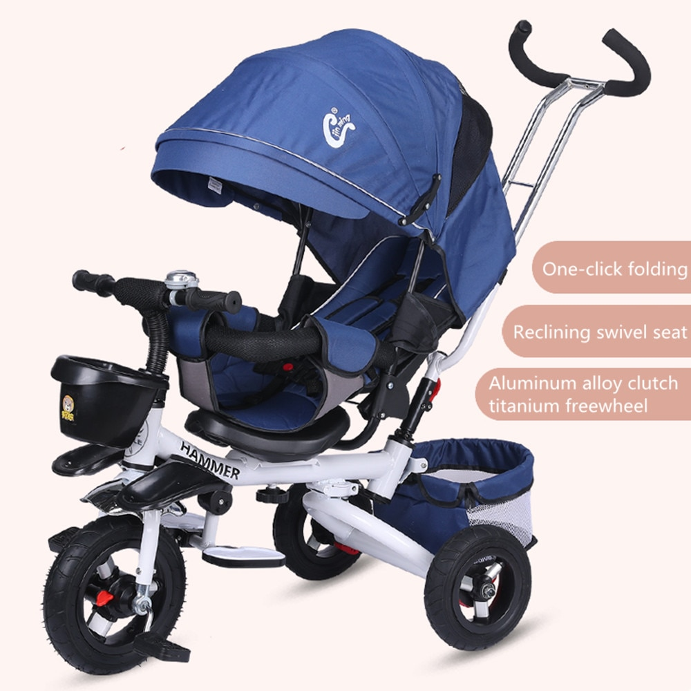 2 In 1 Children's tricycle folding rotating  seat and lying 1-6 years old baby stroller umbrella car for kids  baby bicycle
