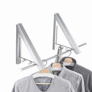Clothes Hanger Invisible Foldable Aluminum Folding Drying Rack Drying Towel Hanger Stand with 2 Shelves Space-saving Hangers