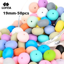 LOFCA 19mm Abacus Silicone Beads BPA Free Lentils Soft Chewable Organic Beads Teether For Necklace B