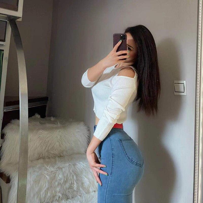Jegings-بنطلون جينز نسائي بخصر عالٍ ، بنطلون دينم مثير ، أزياء كورية ، 4 مواسم