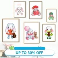 Affiches de peinture sur toile  lapin rose mignon ballon ours chapeau  image dart mural pour decoration de salon  decoration de la maison