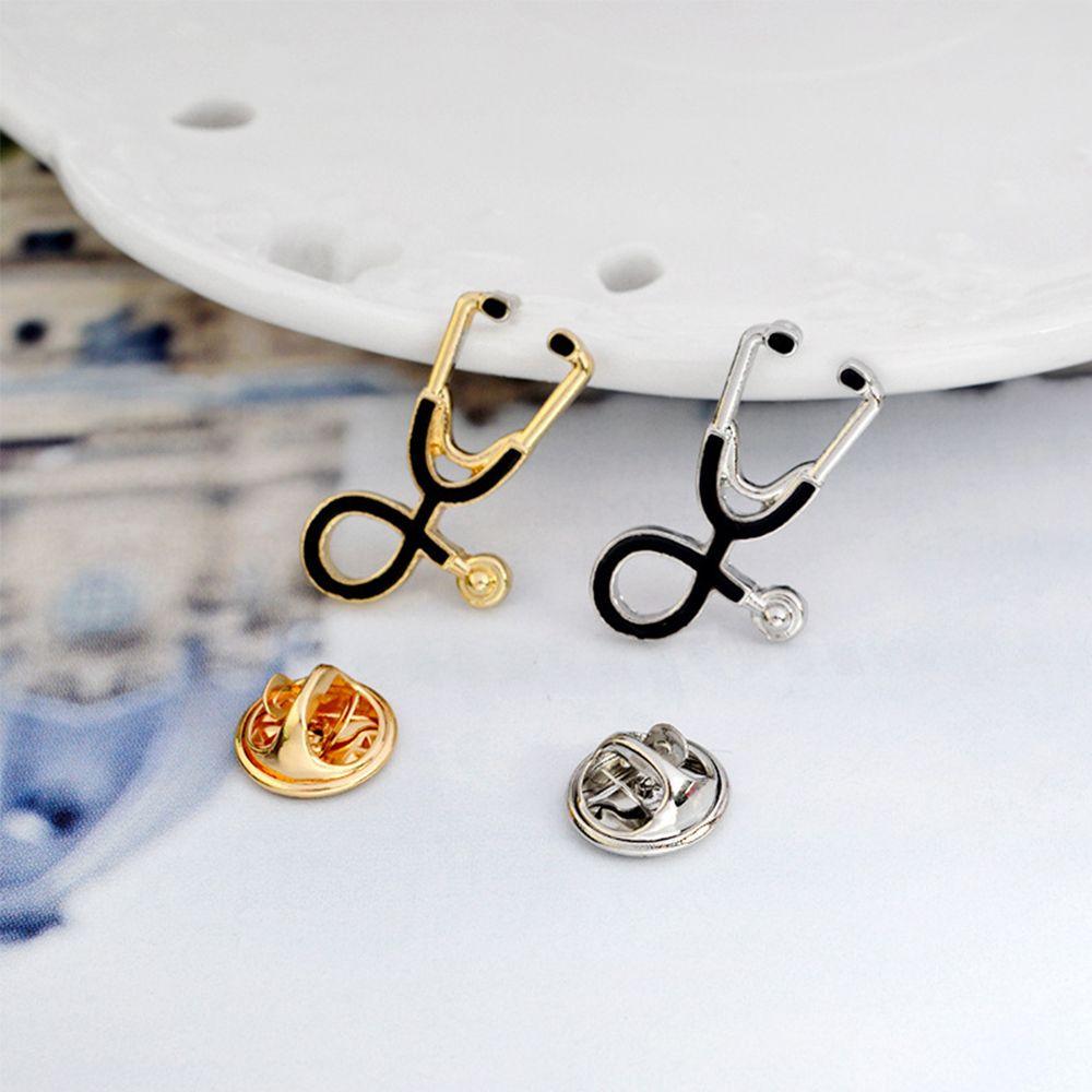 2019 Nova Criativo Colorido Esmalte Pinos Broches Médico Estetoscópio Enfermeira Médica Jaquetas Jeans Saco de Presentes Jóias Botão Emblemas