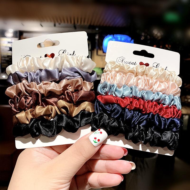 1 Conjunto de accesorios para el cabello de moda para mujer, elegantes bandas elásticas de terciopelo de seda para el cabello, banda de goma, banda de cola de caballo