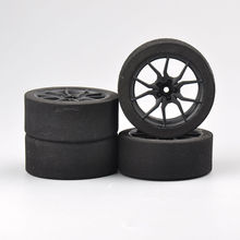 4 pçs/set racing espuma pneu roda conjunto de aro, para hsp hpi 1/10 on-road rc carro 12mm hex rc racing carros acessórios de peças