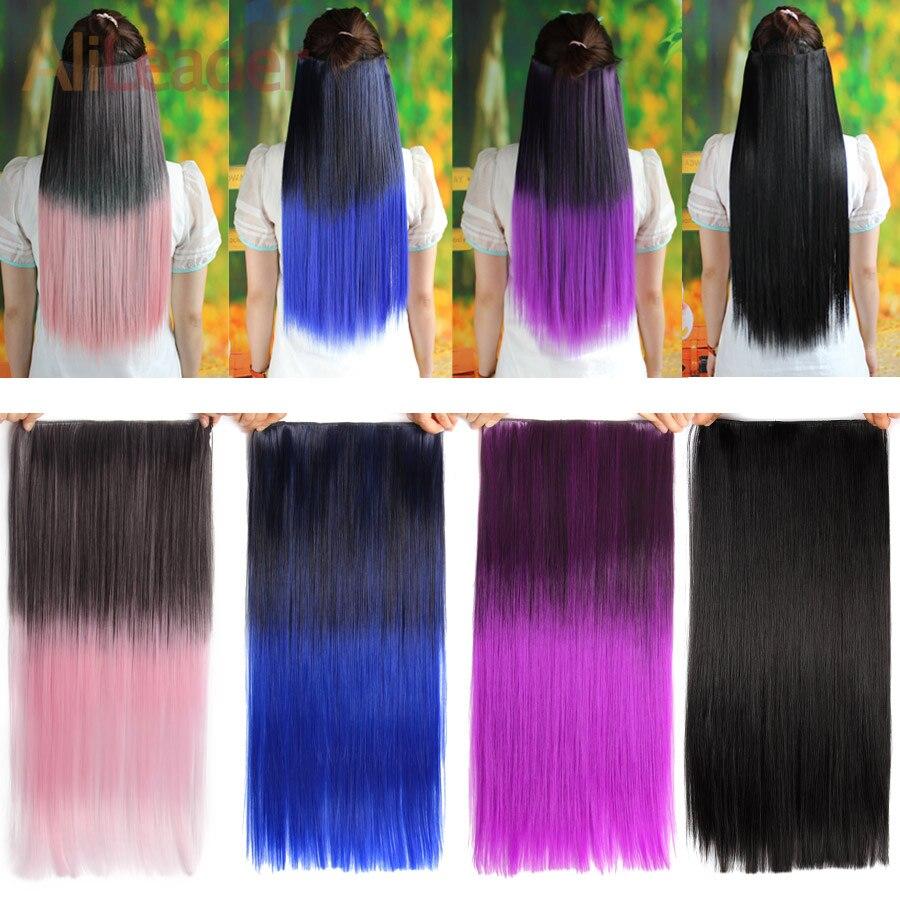 Alileader 5 Clip en extensión de cabello Ombre Color rojo púrpura 22 pulgadas 56Cm largo recto falso pelo sintético Natural cabeza completa