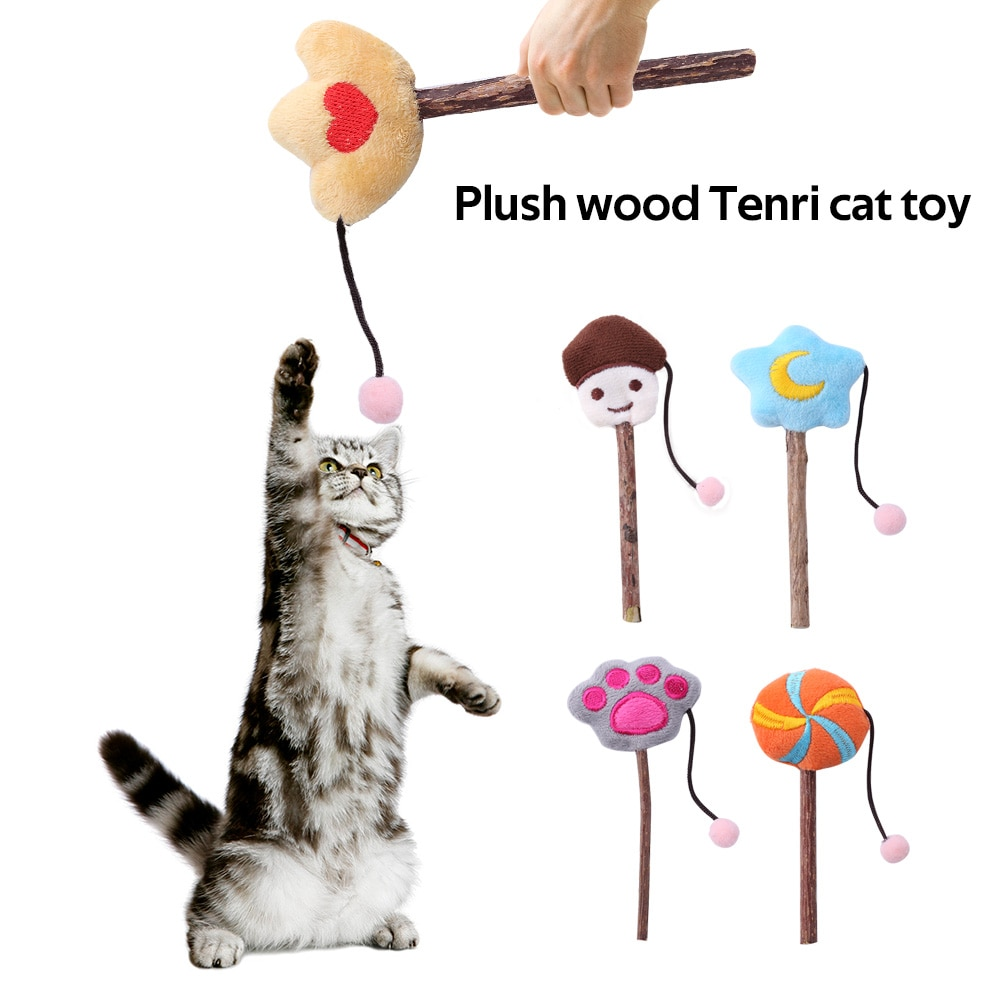 Juguete interactivo para gatos y mascotas, Varita para gatos, hierba gatera de peluche, gatito menta, Juguetes Divertidos para jugar, gato, menta de felpa, palo para suministros de juguete para gatos