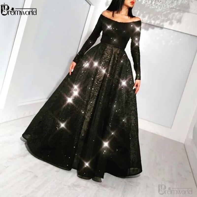 Black Elegant Off The Shoulder Lace Appliqué Beaded Prom Dresses Long Vintage A-Line Long Sleeve Prom Gown Vestidos De Gala