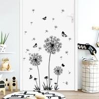 black dandelion living room sofa bedroom bedside table wall decoration self adhesive wall decal