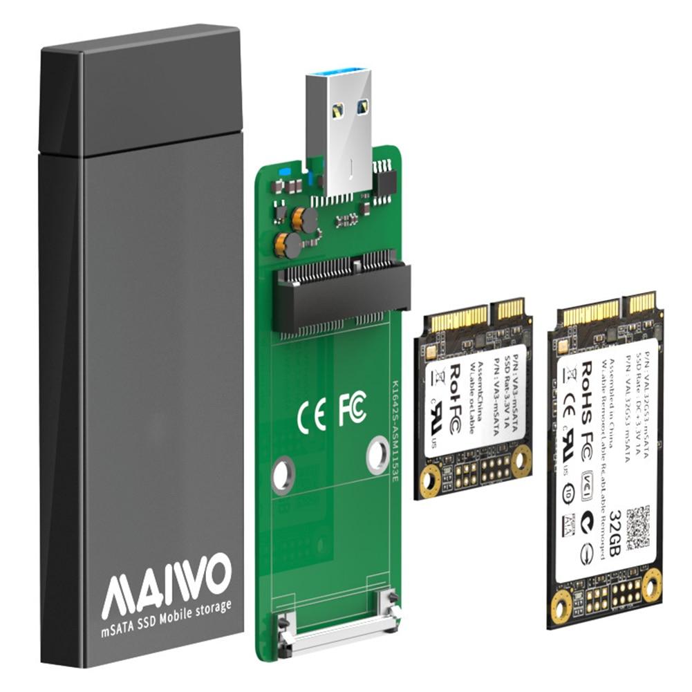 MAIWO K1642S 5Gbps USB 3.0 to mSATA SSD Box Aluminum Alloy Mobile Enclosure mSATA SSD Mobile Enclosure Support 1TB w/ Indicator