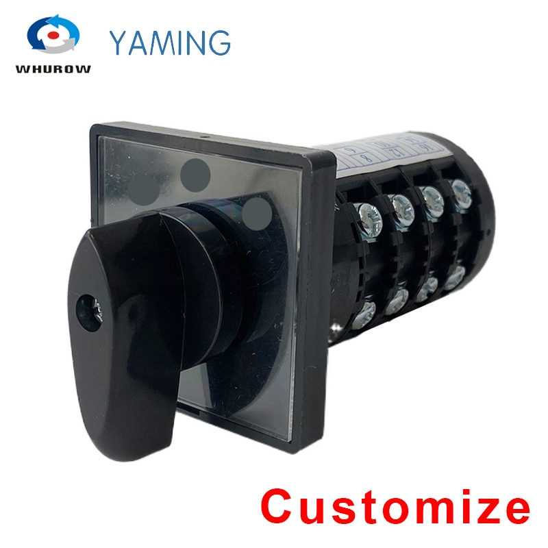 Customize HZ5B-20/4 Rotary Cam Switch Electrical Universal Changeover Selector 20A 4 Poles Silver Contact