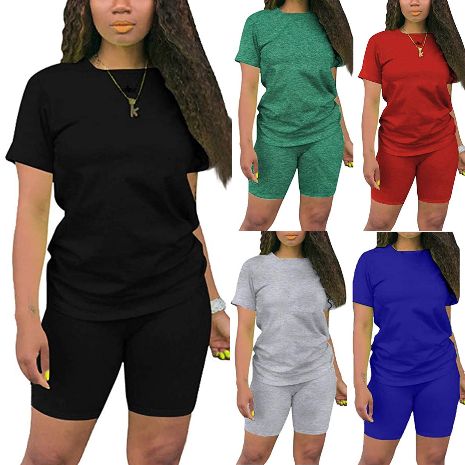 Women Casual Summer Home Pure Colour Short Comfortable Breathable Sleeves Shorts 2 Piece Sports Suit Crew Neck T-shirt Simple