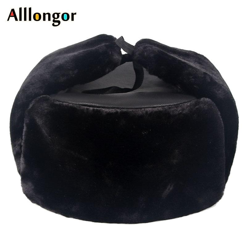 New 2019 Warm Snow Russian ushanka hats Pu Leather Faux Fur Mens Winter hats ear flaps Black Dad bomber hat