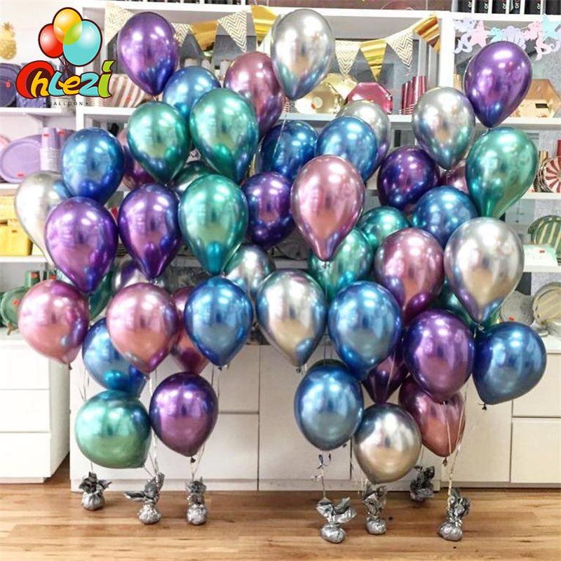 50/100pcs Metallic Latex Balloons 5/10/12 inch Gold silver Chrome Ballon Wedding Decorations Globos Birthday Party Supplies
