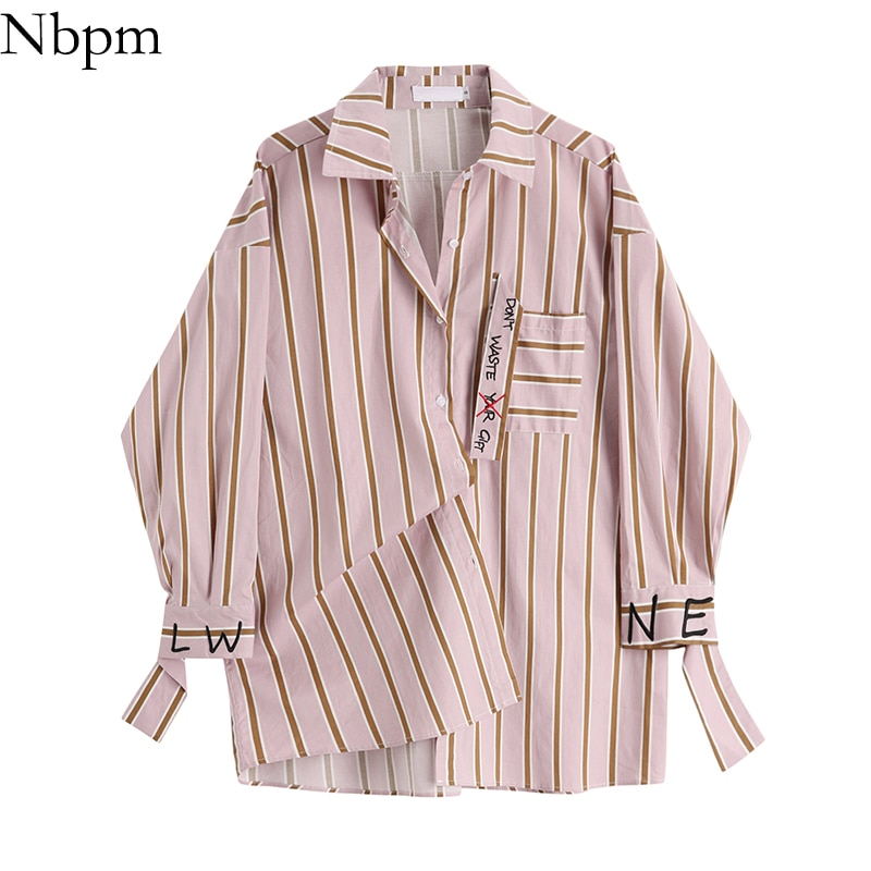 Nbpm Women Blouses Fashion 2021 Letter Embroidery Women's Clothing Striped Female Shirt Elegant Square Collar Top Office Sweet