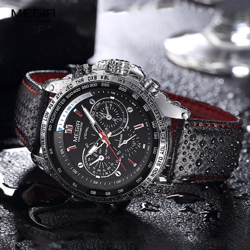 MEGIR Fashion Watches Men Top Brand Quartz Sports Leather Luxury Military Wrist Watch Waterproof Clock Male Relogio Masculino