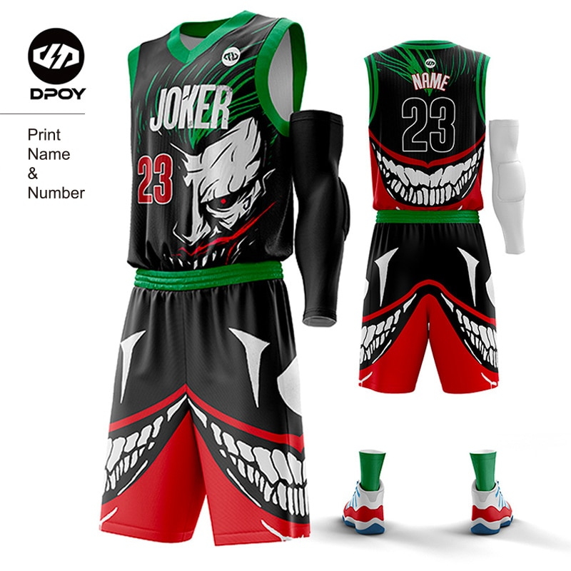 DC Joker Vest basketball jersey Outfit funny Cartoon Sportswear Customized for team Sports Uniforms Training men kid dpoy Brand