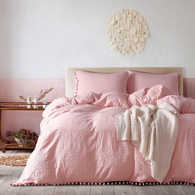 طقم أغطية سرير وردي مع كرة صغيرة, طقم سرير 2/3 قطعة وردي مع كرة صغيرة من الألياف الدقيقة ، غطاء لحاف مزدوج ، كوين ، غطاء المخدة ، منسوجات منزلية ...