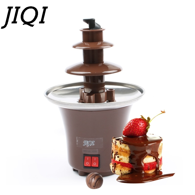 JIQI DIY 3 niveles fuente de Chocolate Fondue Mini Choco cascada máquina de tres capas niños boda cumpleaños se derrite EU US