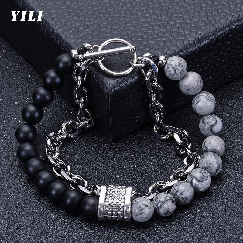 Beaded Bracelet for Men Map Stone Black Matte Stainless Steel Bracelets Male Jewelry Natural Tiger e