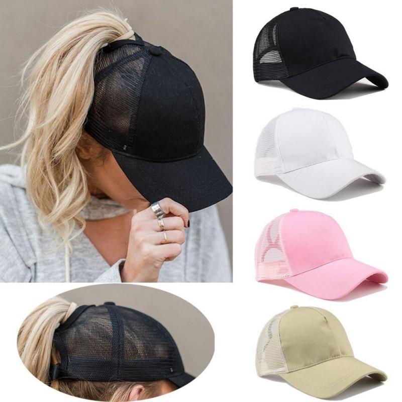 Casual Ponytail Baseball Cap Snapback Mesh Hat Summer Street Fashion Trending Girl Hip Hop Cap Womens Breathable Hats and Caps