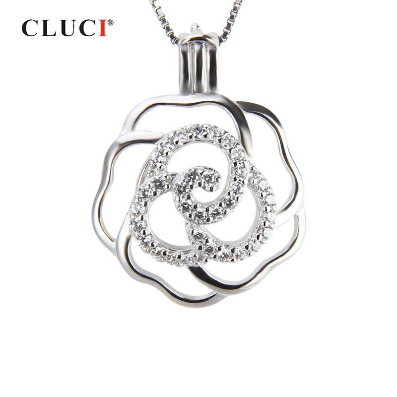 Colgante CLUCI Plata de Ley 925 auténtica de Zirconia rosa para mujer, colgante para regalo, joyería 925, colgante de relicario de perlas de plata SC210SB