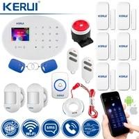 KERUI-systeme dalarme de securite domestique sans fil  wi-fi  GSM  avec sonnette de porte  capteur et detecteur