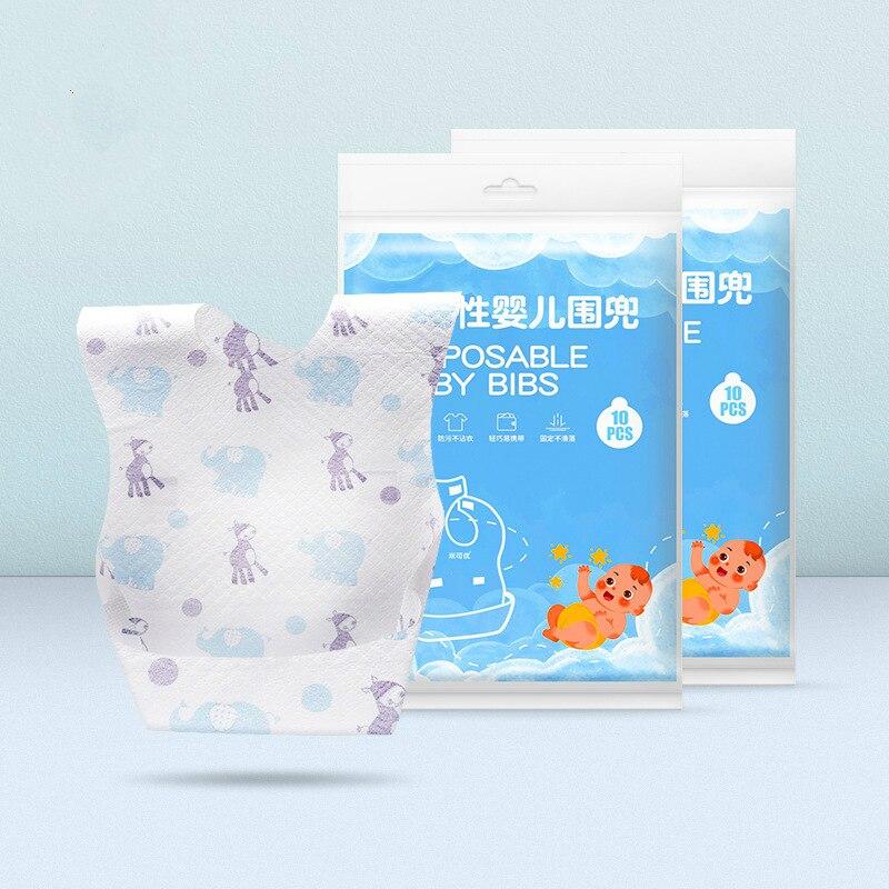 Babero de Toalla de Saliva bebé desechable ajustable portátil de salida 10 Uds. Babero de bebé no tejido impermeable y a prueba de suciedad