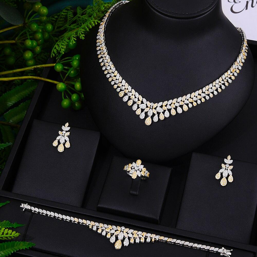 GODKI New 4PCS Super Luxury Waterdrop Charms Tassel Drop Jewelry Set For Women Wedding Cubic Zircon Dress Necklace Earring Set