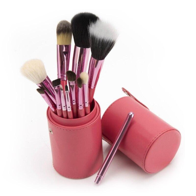 12 Uds brochas de maquillaje brocha para sombra de ojos brocha para colorete barril de lana juego de brochas cilíndricas para maquillaje
